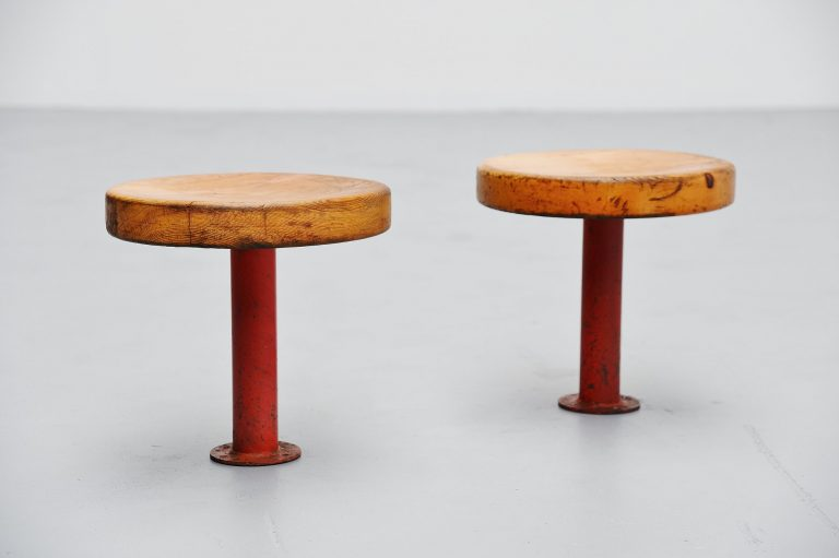 Charlotte Perriand stools for Les Arcs France 1968