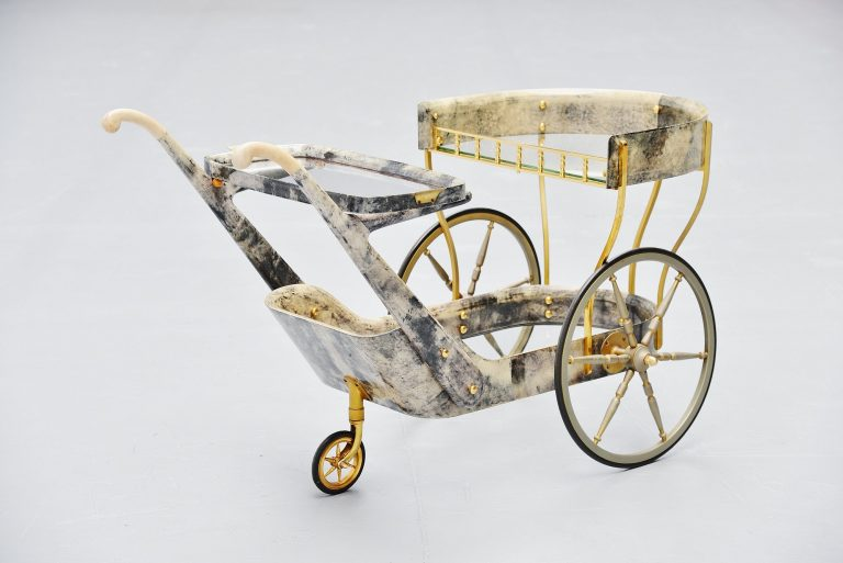 Aldo Tura serving cart in goatskin Tura Milano 1960 Italy