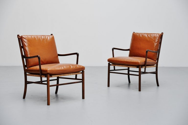 Ole Wanscher colonial chairs pair Poul Jeppesen Denmark 1949