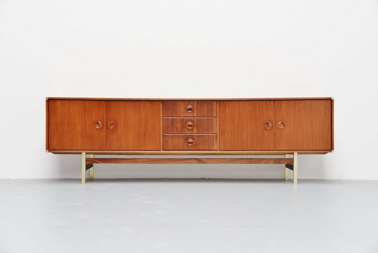 Fristho long sideboard in teak and brass Holland 1960