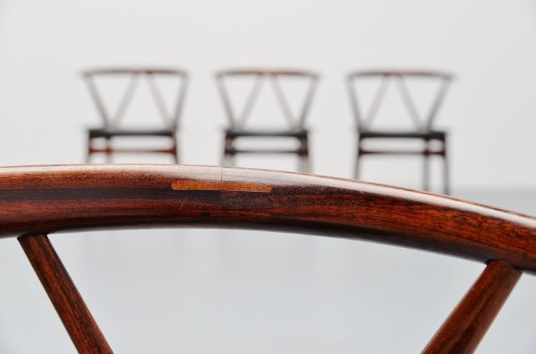 Henning Kjaernulf rosewood dining chairs Bruno Hansen 1963