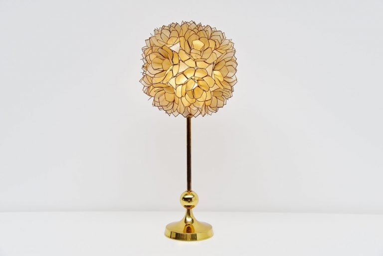 Mother of pearl table lamp, Belgium 1970