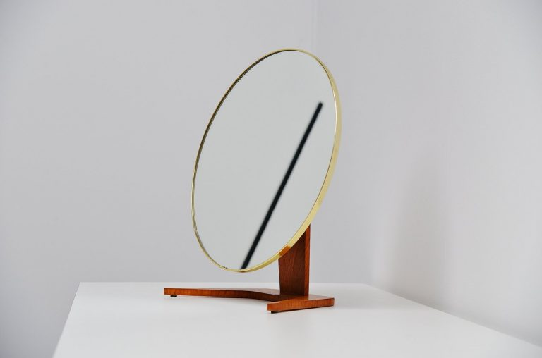 Dutch table mirror with brass details Holland 1960