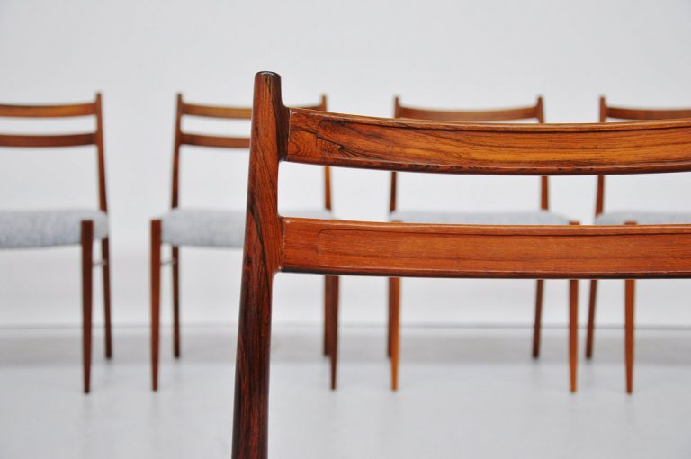 Arne Wahl Iversen rosewood dining chairs 1960