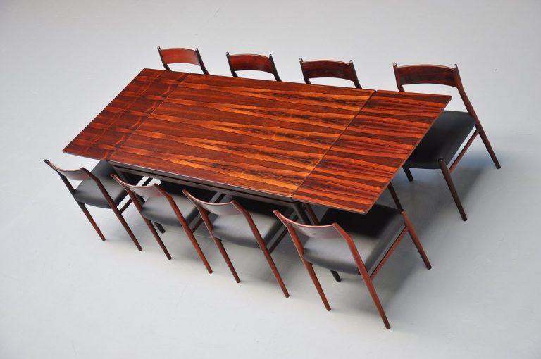 Johannes Andersen rosewood Linneberg dining table 1964