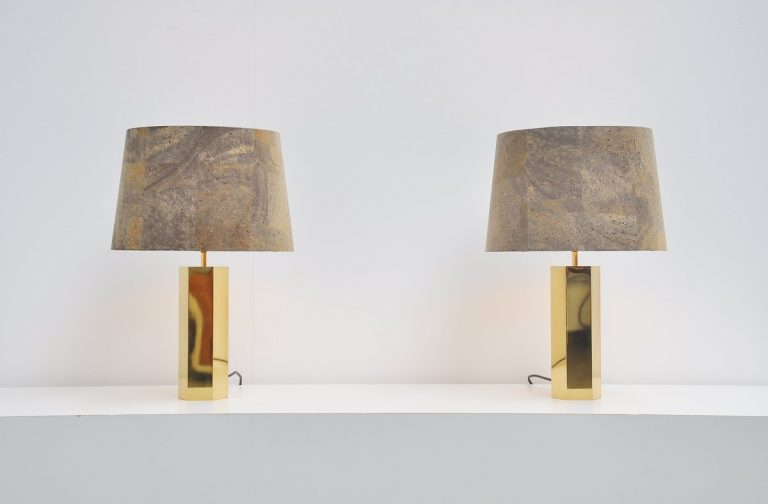 Ingo Maurer pair of table lamps in brass Germany 1962