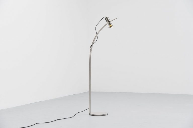 Swiss floor lamp in brushed steel 1970