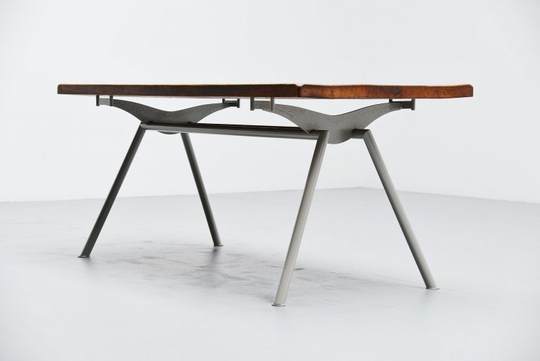 Industrial dining table Prouve Perriand style France 1960
