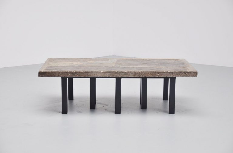 Paul Kingma rectangular coffee table in stone and concrete 1963