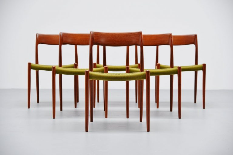 Niels Moller Model #77 teak dining chairs Denmark 1959