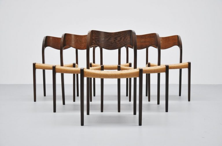 Niels O Moller Model #71 chairs set of 6 1951