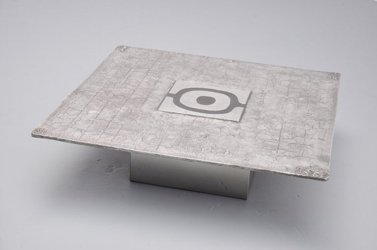 Willy Ceysens brutalist coffee table in cast steel Belgium 1970