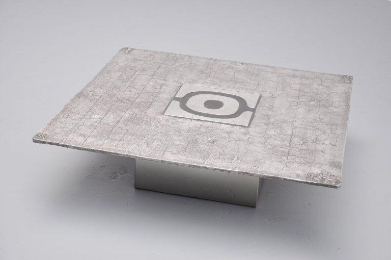 Willy Ceysens brutalist coffee table in cast steel Belgium 1970