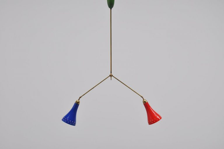 Monumental ceiling lamp Pierre Guariche attr France 1950