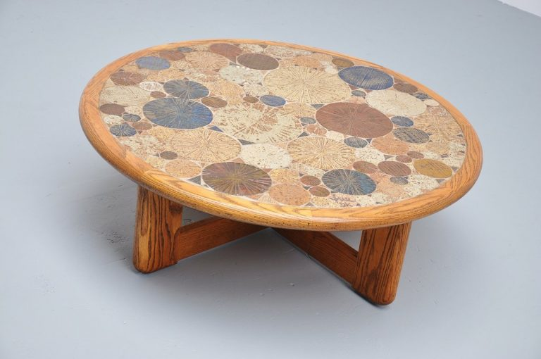 Tue Poulsen ceramic art coffee table, Haslev Denmark 1963
