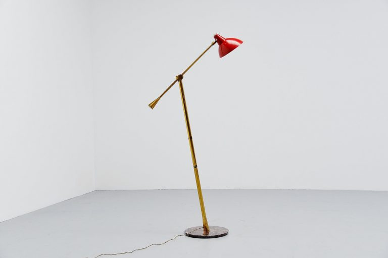 Stilnovo floor lamp with marble base Italy 1950