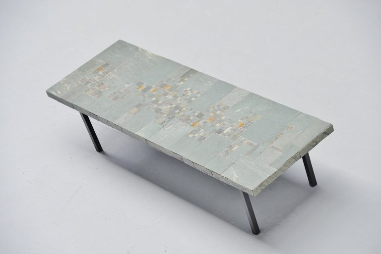 Pia Manu ceramic and slate tiles coffee table Belgium 1960