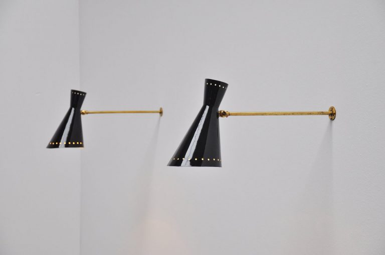 Stilnovo diabolo sconces Italy 1950