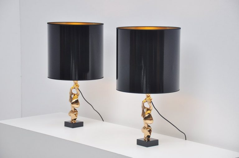Michel Jaubert bronze sculptural table lamps France 1970