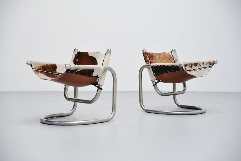 Italian cowskin lounge chairs brushed steel 1970