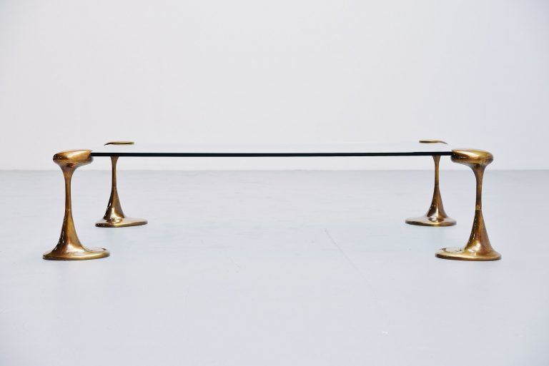 Large coffee table with bronze legs Belgium 1970