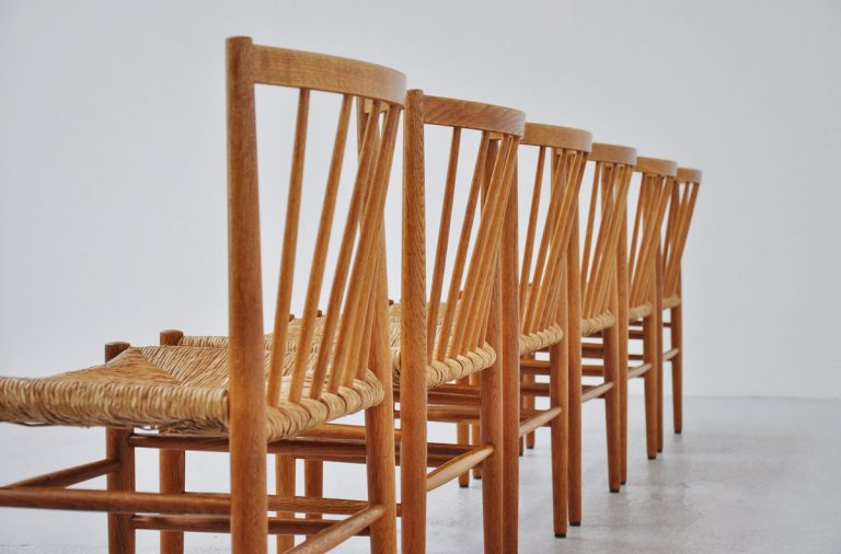 Jorgen Baekmark FDB Mobler oak chairs 1960