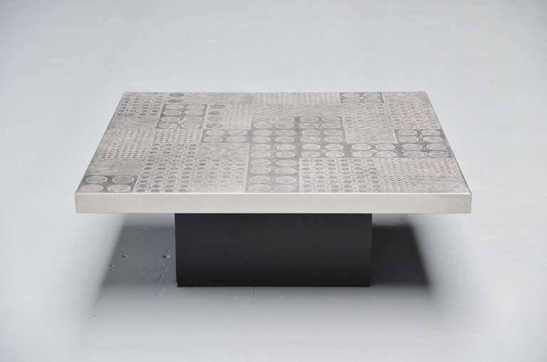 Heinz Lillienthal etched graphic coffee table Germany 1970