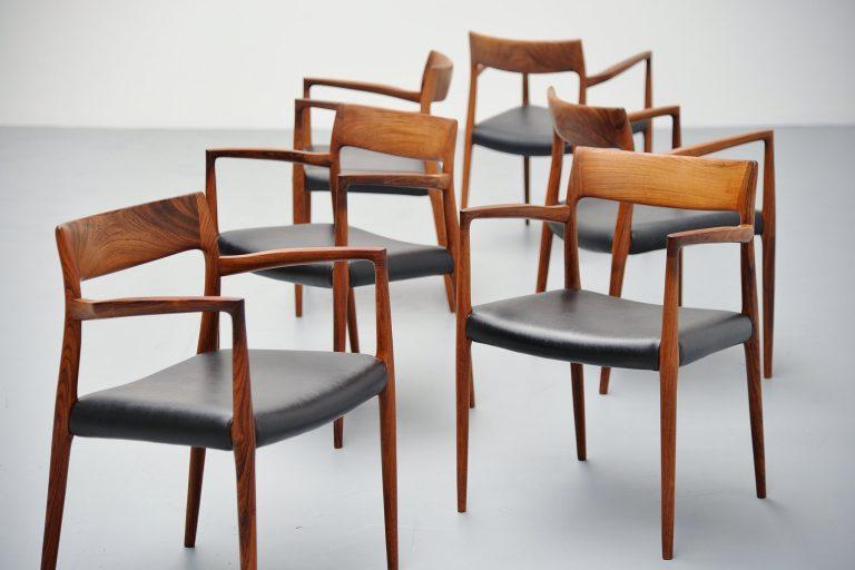Niels Moller model 57 rosewood armchairs Denmark 1959