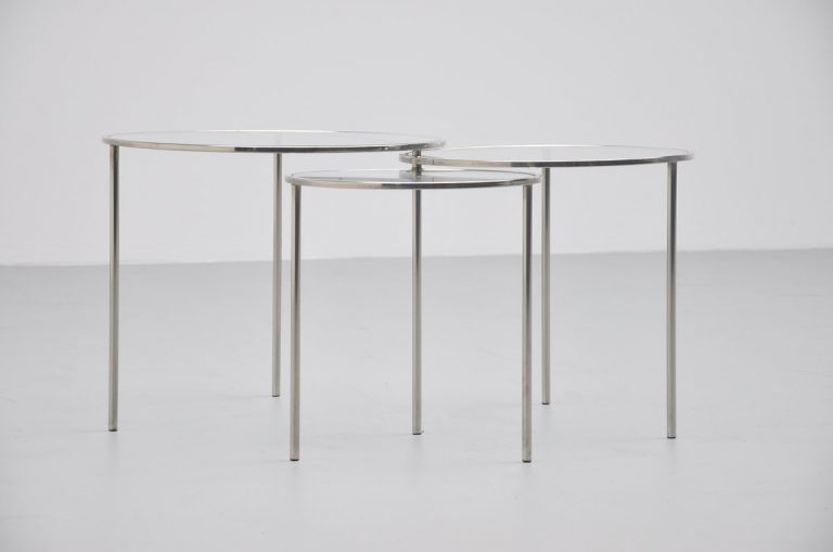 Modernist nesting table set Bauhaus era 1950