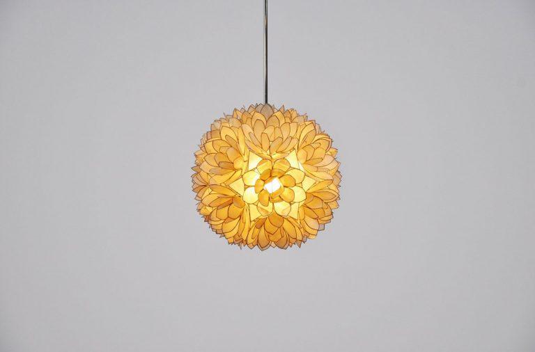 Mother of pearl Belgian pendant lamp 1970