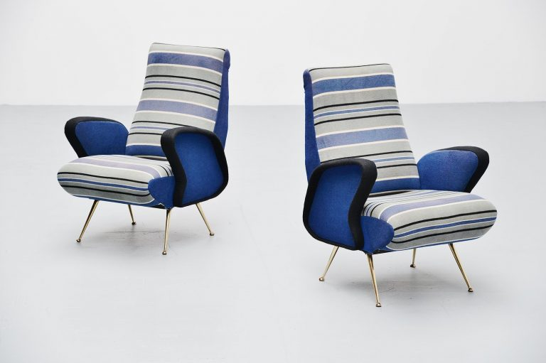 Arflex attributed lounge chairs with original fabric Italy 1950