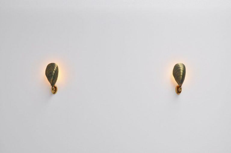 Solid bronze mussel sconces made in France 1970