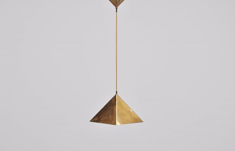 Florian Schulz pyramid ceiling lamp in brass Germany 1970