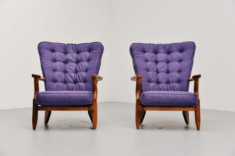 Guillerme et Chambron lounge chairs pair France 1955
