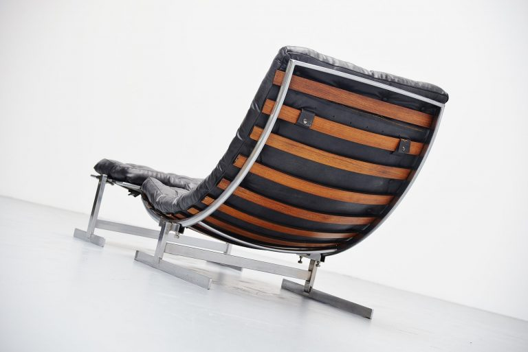 Belgian architectural lounge chair with spine back 1970