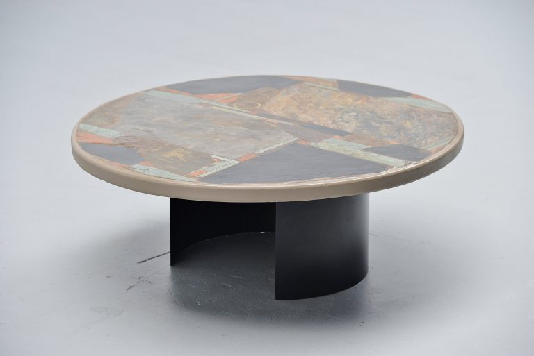 Paul Kingma round artwork coffee table Holland 1978