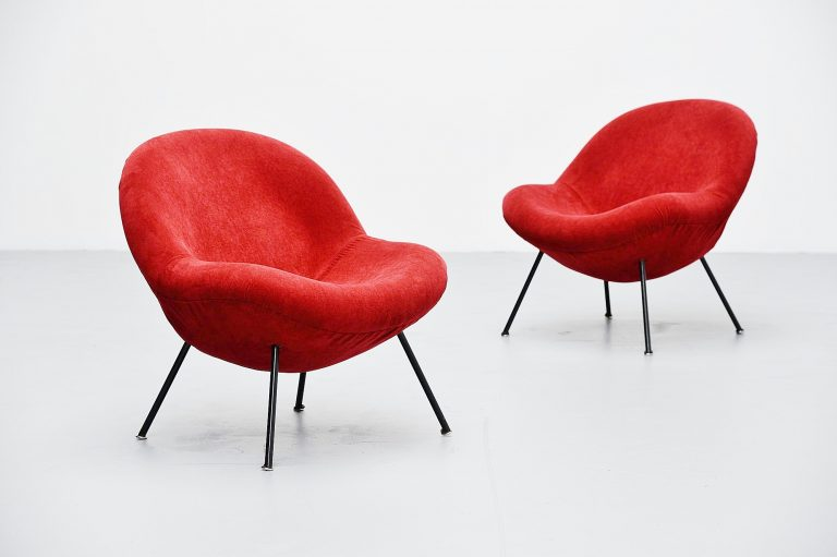 Fritz Neth egg chairs pair Sitzformbau, Kassel Germany 1955