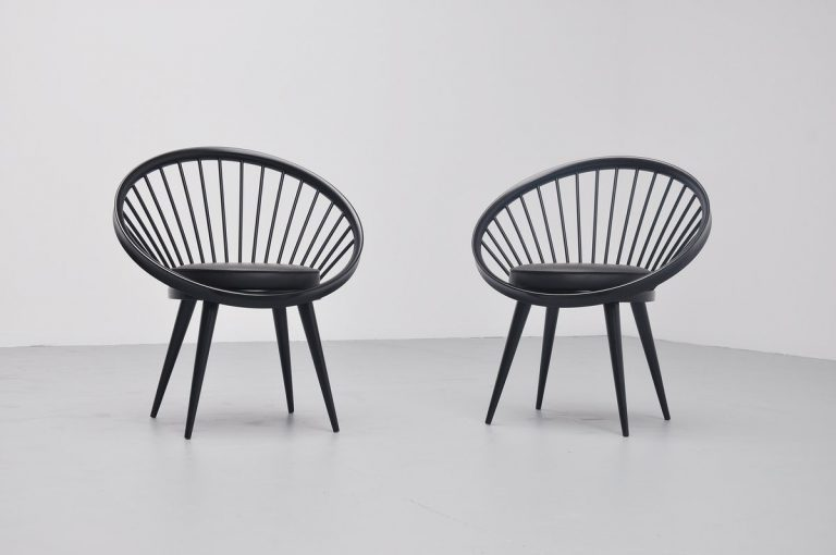 Yngve Ekstrom circle chairs pair Swedese 1960