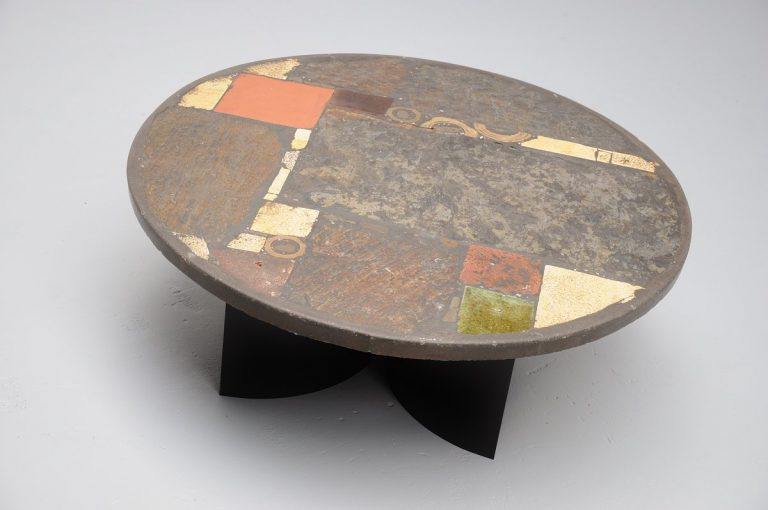 Paul Kingma sculptural coffee table in stone and brass 1976