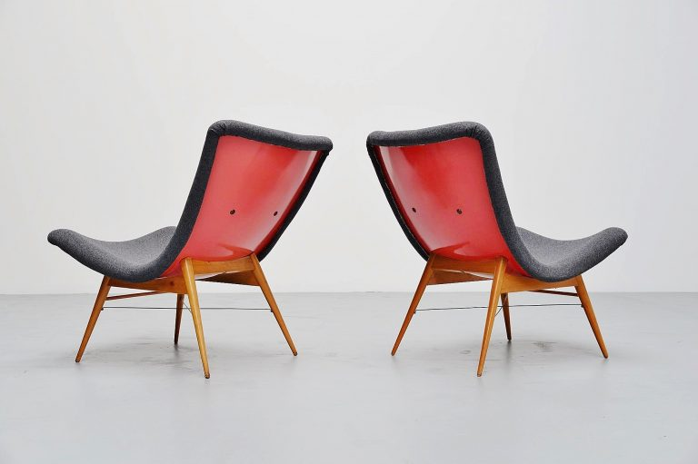 Miroslav Navratil lounge chairs pair Czech Republic 1959