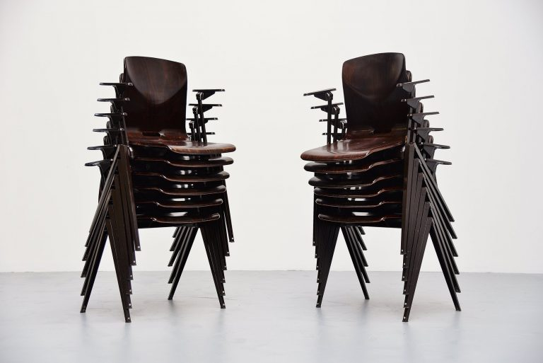 Pagholz stacking chairs with arms set of 12 Germany 1970