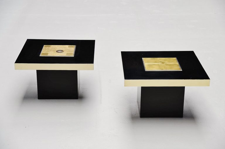 Georges Mathias pair of sofa tables Belgium 1970
