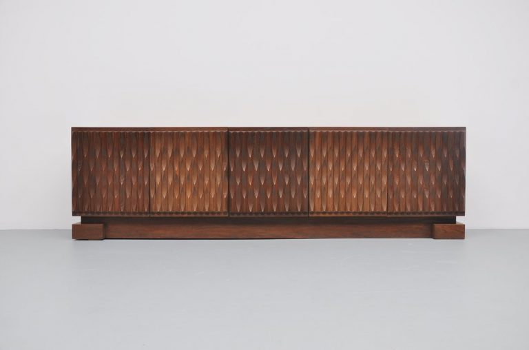Belgian brutalist credenza in solid oak with graphic doors 1970
