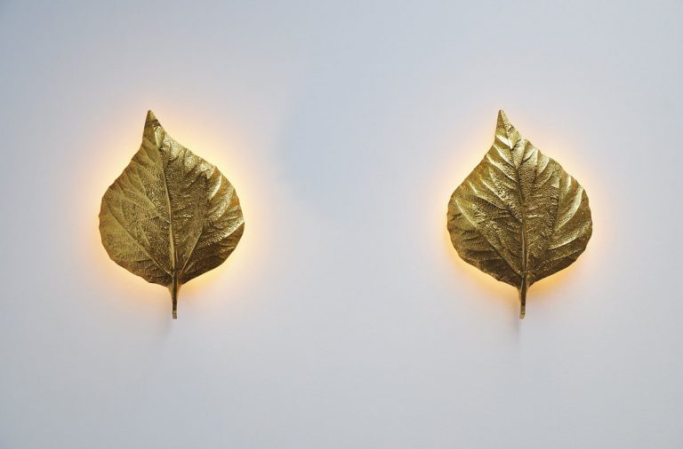 Carlo Giorgi leaf shaped wall lamps italy 1970