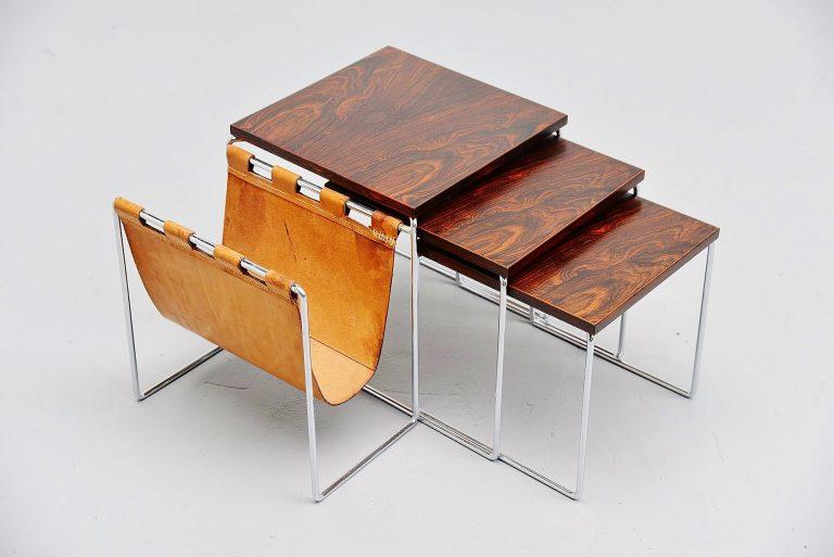 Modernist nesting tables rosewood and leather Holland 1960