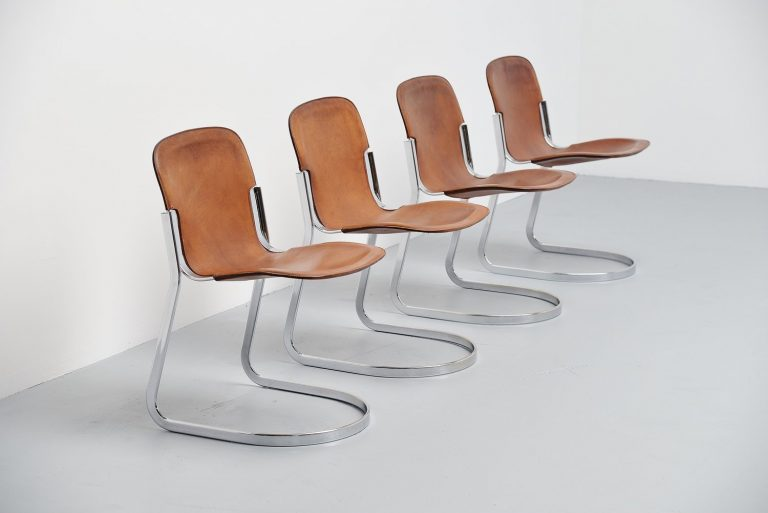 Cidue dining chairs in brown leather, Italy 1970