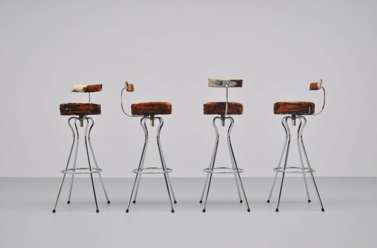 Cow skin bar stools made in Germany 1965