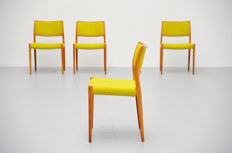 Niels Moller model 80 chairs in oak Denmark 1968
