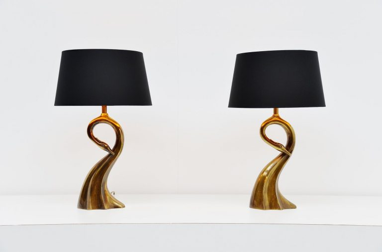 Brass swan shaped table lamps Belgium 1970