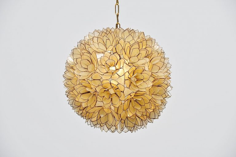 Mother of pearl XL pendant lamp Belgium 1970